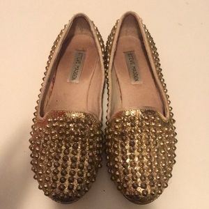 Steve Madden Gold sparkly and spiked flats